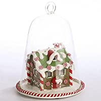 Lovely Light up Decorated Christmas Gingerbread House Inside Clear Globe Cloche Display for Holiday Decor