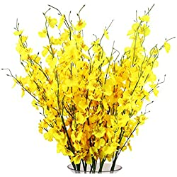 TYEERDEC Artificial Orchids Flowers, 12 Pcs Silk Fake Orchids Flowers in Bulk Orquideas Flowers Artificial for Indoor Outdoor Wedding Home Office Decoration Festive Furnishing Yellow