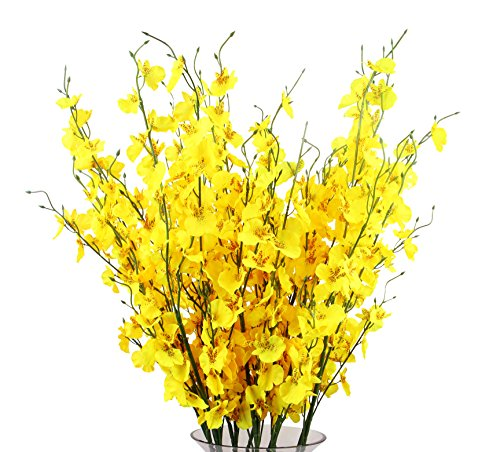 Festive Decorations - TYEERDEC Artificial Orchids Flowers, 10 Pcs Silk Fake Orchids Flowers in Bulk Orquideas Flowers Artificial for Indoor Outdoor Wedding Home Office Decoration Festive Furnishing Yellow