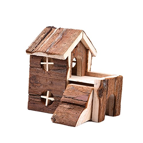 Bestmemories Two-story Natural Wooden House Exquisite Animals Hideout Wood Hut for Hamster, Wooden Hamster Mouse Gerbil Playground Play House for Hamster Chinchillas Guinea Pigs Rats Pets -