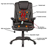 mecor Office Massage Chair Leather Executive Heated Vibrating Computer Chair Black
