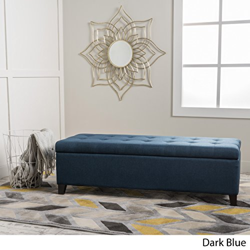 (Santa Rosa Dark Blue Fabric Storage Ottoman)