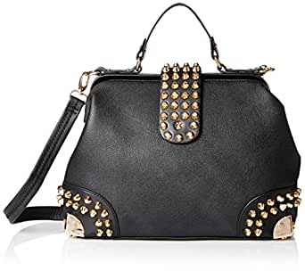 MG Collection Gothic Studded Doctor Style Convertible Top Handle Shoulder Handbag, Black, One Size