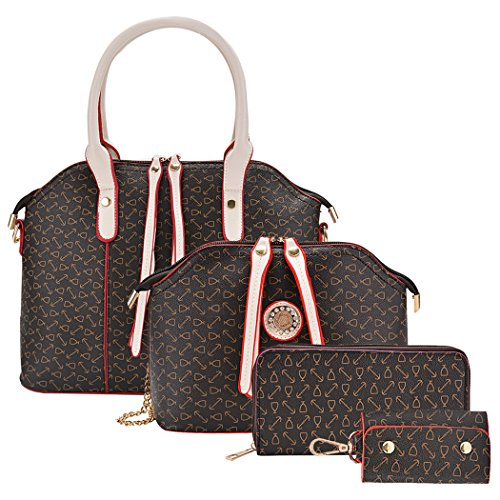 Coofit Moda Borse Donna PU in Pelle Borsetta Tote Bag Borsa a Mano 4 pz Set