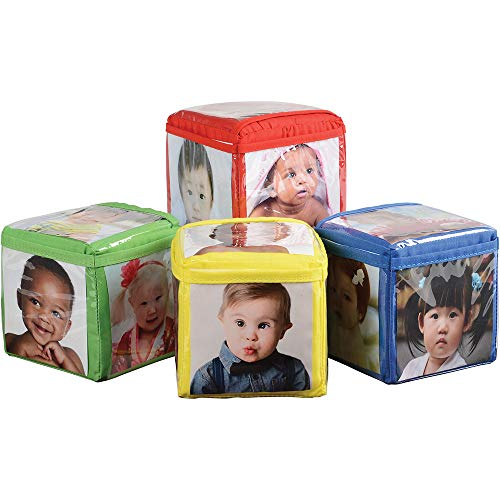 Constructive Playthings Toys Foam Stacking Blocks with Photo Pockets, 4 Piece Set Holds 24 Photos, Ages 12 Months and ()