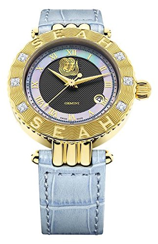 Seah-Empyrean-Zodiac-sign-Gemini-42mm-18K-Yellow-Gold-Tone-Swiss-Made-Automatic-12-carat-Diamond-watch