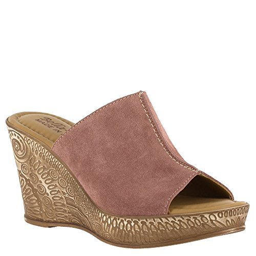 Bella Vita Kvinna Dax Läder Peep Toe Tillfälliga Mule Sandaler Rodna Mocka