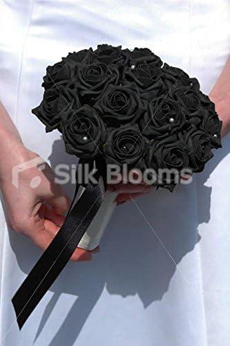 Bouquet Sposa Nero.Semplice Nero Rosa Bouquet Da Sposa Con Perla Spille E Nastri Di Raso Amazon It Casa E Cucina