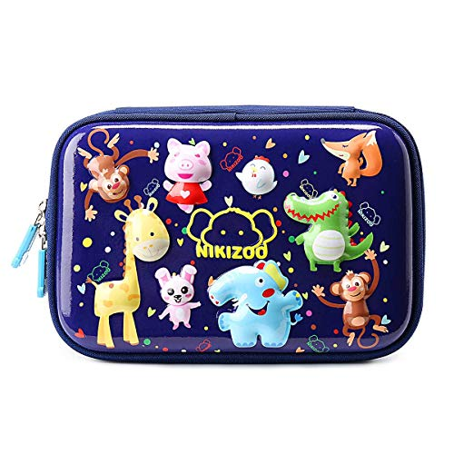 ls Pencil Pouch Boys Colored Pen Stationery Box 3D Animals Deer Fox Pig EVA Shockproof Hard Shell Large Boys Pen Pouches Navy ()