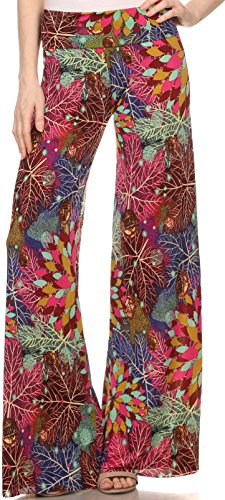 Sakkas 827PT1034 - Mikaela Summer Jungle Print Wide Leg Spandex Palazzo Pant - desgin34 - M