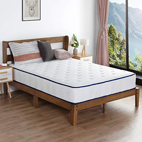 Check Out This PrimaSleep 10inch Hybrid Tight Top Spring Mattress Twin Size-White,Blue Piping,Dura I...