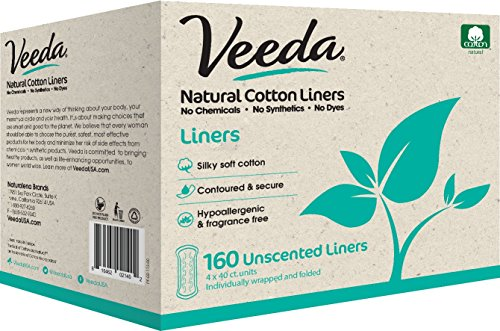 (Veeda Natural Cotton Liners, Hypoallergenic, Folded 160)