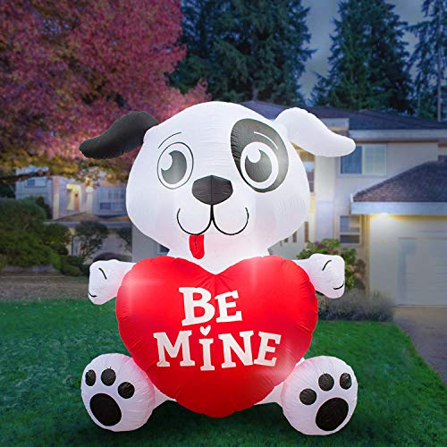 Holidayana 8 Foot Inflatable Dog with Heart Decoration, Outdoor Yard Decor, Includes Built-in Bulbs, Tie-Down Points, and Powerful Built in Fan -