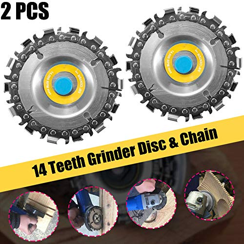 (POLIFE Circular Saw Blade Cutter Tool 2 PCS, Cordless Saw Blades for 100/115 Angle Grinder, Disc Plunge Wood Cut Wheel, Chain 14 Teeth Cutting Set Chop Saws, Perfect for Wood Plastic Ice R (2 PCS))