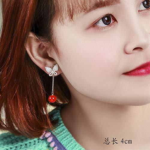 Chinese Style Blue White Ceramic Beads Large red Tassel Earrings Earring Ear Dangler Long Handmade Navy no (Micro Pave Butterfly Needles hongzhushan 925 1026