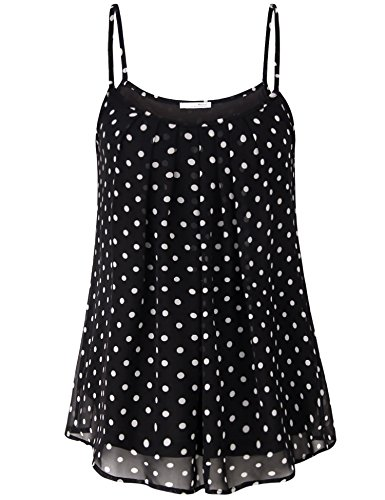 Chiffon Black A-line (Messic Direct Plus Size Polka Dot Camisole for Women, Summer Tanks Chiffon Spaghetti Strap Blouse O Neck Relaxed Fit Pleated Business Casual A Line Swing Tops Black White XX-Large)