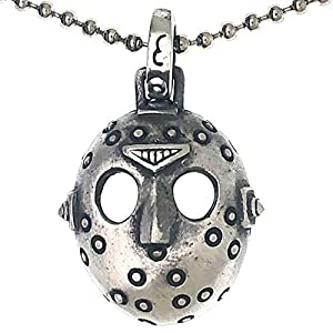 Halloween Jewelry Jason Hockey Mask Lucky 13th Horror Movie Prop Pewter Men's Boys Cosplay Anime Comic Con Fashion Protection Amulet Pendant Necklace Charm for Men Unisex w Silver Ball Chain