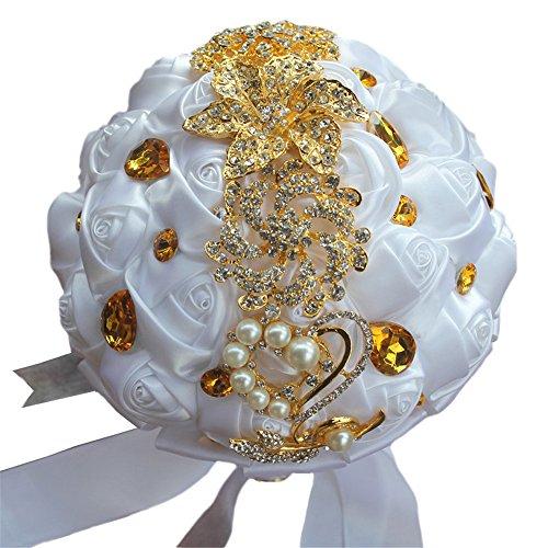 USIX Handcraft Crystal Satin Rose Brooch Bridal Holding Wedding Bouquet Brooch Bouquet, Lace Decorated Bouquet, Wedding Flower Arrangements Bridesmaid Bouquet(White)