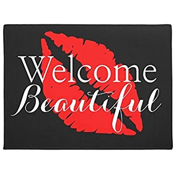 Ailovyo Welcome Beautiful Red Lips Beauty Salon Rubber Non-Slip Entry Way Outdoor Indoor Decor Rug Doormats, 23.6-Inch x 15.7-Inch