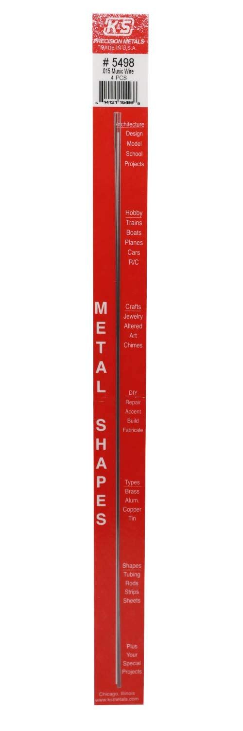 """K&S Precision Metals 5498 Music Wire.015"""" X 12"""" Long, 4 Pieces per Pack, Made in The USA"""