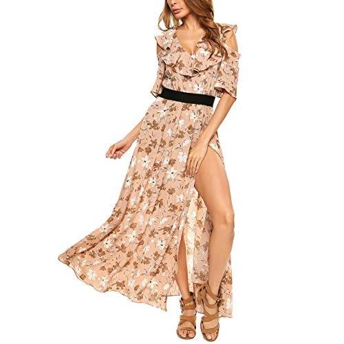 d74aa07c8 Zeagoo Women Bohemian Cold Shoulder Floral Ruffle Side High Split Long Maxi  Dress delicate
