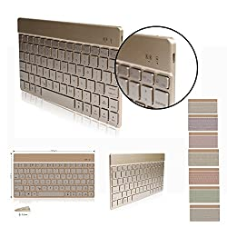 DINGRICH Bluetooth Keyboard with Backlit,Easy Carrying Ultra Slim 7 Color Backlight Keyboard Compatible with IOS,Windows and Android System (DJP-Gold)