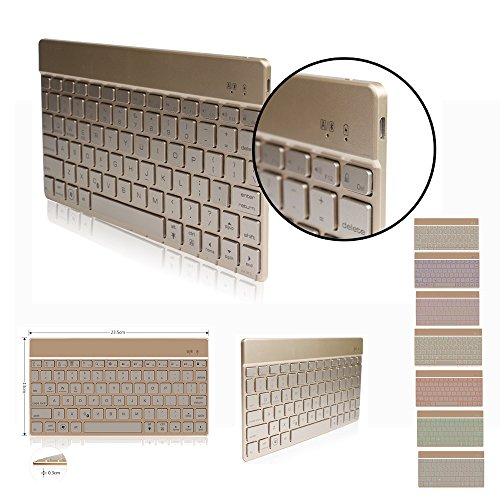 DINGRICH Bluetooth Keyboard with Backlit,Easy Carrying Ultra Slim - Gold Keyboard