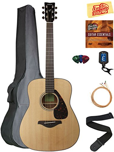 Folk Acoustic Guitar Strings - Yamaha FG800 Solid Top Folk Acoustic Guitar - Natural Bundle with Gig Bag, Tuner, Strings, Strap, Picks, Austin Bazaar Instructional DVD, and Polishing Cloth
