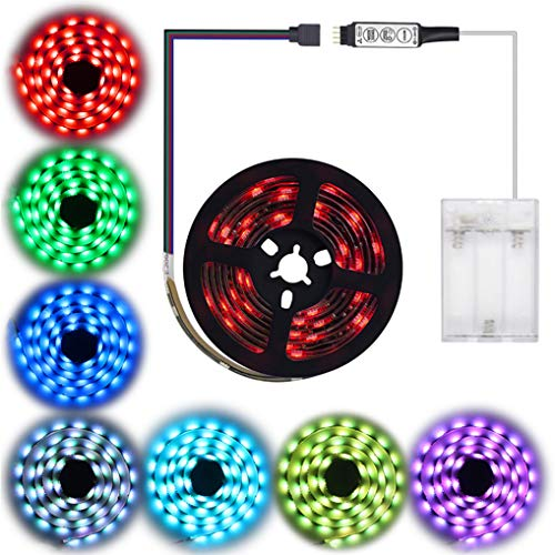 - Led Strip Lights Battery Powered,abtong RGB Led Lights Strip with Mini Controller Waterproof Led Strip Rope Lights Battery Led Lights Multi Color Changing Lights-2M/6.56ft