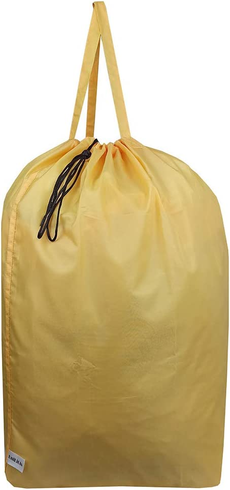 UniLiGis Tear Proof Nylon Laundry Bag with Handles,Hamper Liner with Drawstring Closure for Travel,Dirty Clothes Bag Fit Most Laundry Hamper and Sorter,27.5x34.5'' (Yellow)