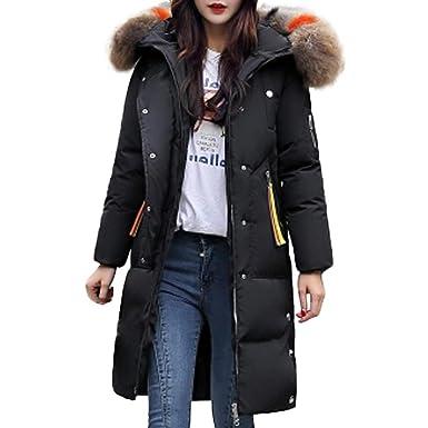 047b689847 Ghemdilmn Damen Winterjacke Wintermantel Lange Daunenjacke Jacke Outwear  Frauen Winter Warm Daunenmantel Solide Lässig Dicker Winter Slim Down Jacke  Mantel: ...