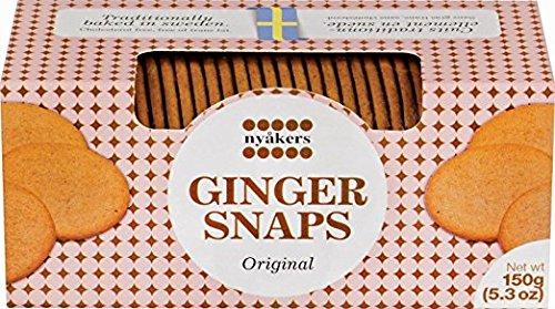 Nyakers Swedish Ginger Snaps, Original Flavor, 150g - 5.3oz, Pack of (Best Ginger Snaps)