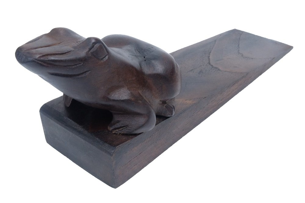 Design by UnseenThailand Decorative Wooden Door Stopper/Doorstop Holder Hand Carved in a Animal Shape Floor Blocker Closers. (Black Frog)