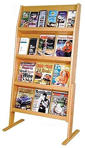 Wooden Mallet Slope 24 Pocket Standing Literature Display 4Hx6W, Light Oak - Pocket Literature Floor Display