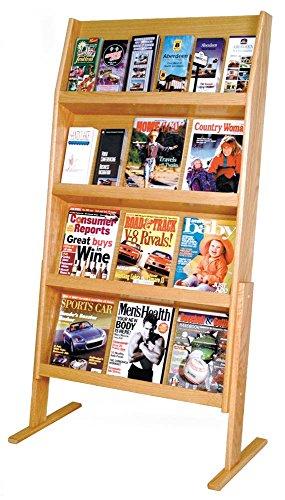 Wooden Mallet Slope 24 Pocket Standing Literature Display 4Hx6W, Light Oak (Oak Media Light Unit)