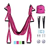 Pexmor Aerial Yoga Swing/Hammock/Trapeze/Sling Kit Set for Antigravity Yoga Inversion Exercises with 2 Upgraded Prime Straps with Wiregate Carabiner and 2 Ceiling Anchors