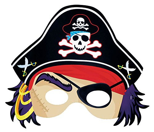 Pirate's Treasure Themed Party Face Mask Favour, Paper, 8