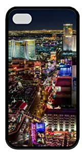 Las Vegas Strip North TPU Silicone Rubber Soft Back Case Cover for iPhone 4/4s - Black