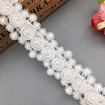 Amazoncom Lace Trim 1 Yard Vintage Rose Flower Pearl