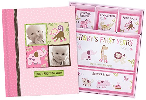 (Baby Girl Memory Book Scrapbook Photo Picture Album with Storage Dividers Keepsake Box Baby's First Five Years Diary Journal Records Milestone Memories Precious Moments Pink Polka Dot Monkey Design)