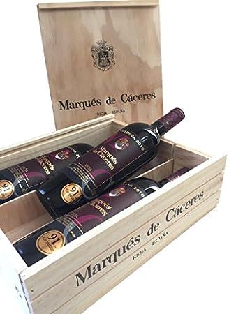 Caja de madera 3 botellas - Marqués de Caceres Reserva - Vino tinto
