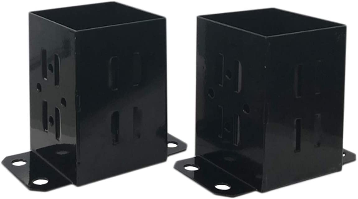 JH Fence Post Base Brackets | Heavy Duty Powder-Coated 13-Gauge Steel Base for 4x4 Wood, Black (2 Pack)