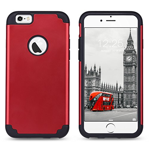 iPhone 6S Hülle, ULAK iPhone 6 hülle dual Layer shockproof [drop protection] slim hybrid Impact skin tasche für iPhone 6 6S (4,7 Zoll) (rot)