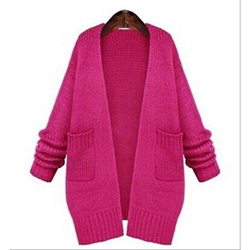 3 色 レディース OL 高級 ロング コート カーディガン ジャケット おしゃれ セレブ ( 2 サイズ ) (ローズレッド, L)