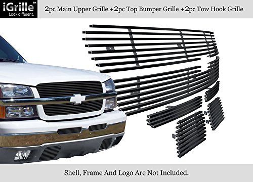 APS Compatible with 03-05 Chevy Silverado 1500 03-04 2500 Stainless Black Billet Grille Combo C67887J