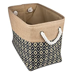 "DII Collapsible Burlap Storage Basket or Bin with Durable Cotton Handles, Home Organizational Solution for Office, Bedroom, Closet, Toys, & Laundry (Large – 18x12x15""), Black Ikat"
