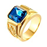 9ddc34568355 Dovewill Anillo Color Oro con Rhinestone Rectángulo Hip Hop Accesorios para  Hombre Mujer - Oro y