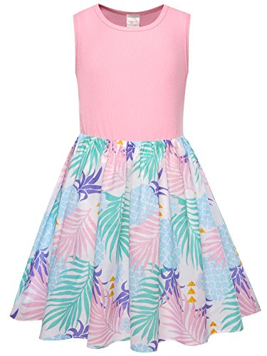Bonny Billy Girls School Pineapple Cotton Beach Dresses Clothing for Kids Size 10 Pink]()