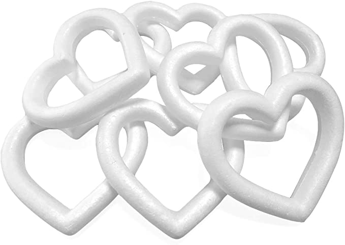 Heart Shaped Foam Wreath White DIY Supplies for Craft Projects and Wedding Decorations Extruded Heart Foam Wreath 9.84 x 1.89 x 9.84 Inches Open Heart Shaped 4-Pack Polystyrene Foam Wreath