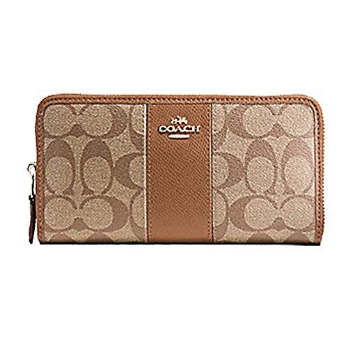 (Coach ACCORDION ZIP WALLET IN SIGNATURE COATED CANVAS WITH LEATHER STRIPE, Khaki, 7.5 in x 4 in x 1)